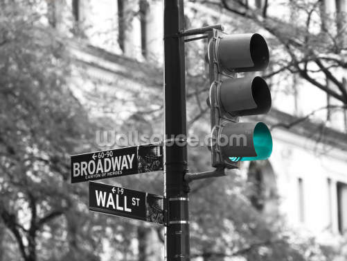 Wall Street and Broadway Road Sign Wallpaper Wall Murals
