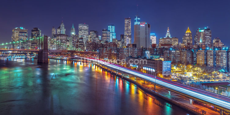 Bright Lights Manhattan by East River Wallpaper Wall Murals