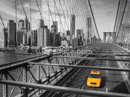 Daylight on Brooklyn Bridge Colour Splash Wallpaper Wall Murals