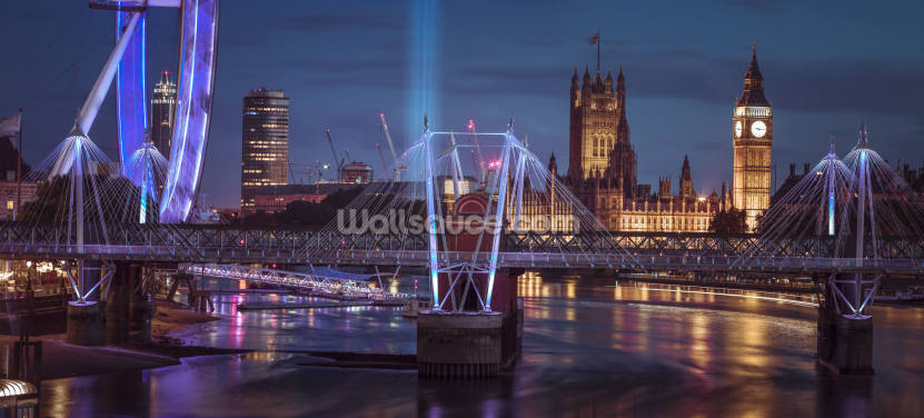 Bright Lights at the London Eye Wallpaper Wall Murals
