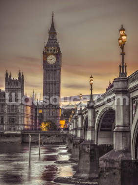 Westminster Bridge and Big Ben from the River Wallpaper Wall Murals