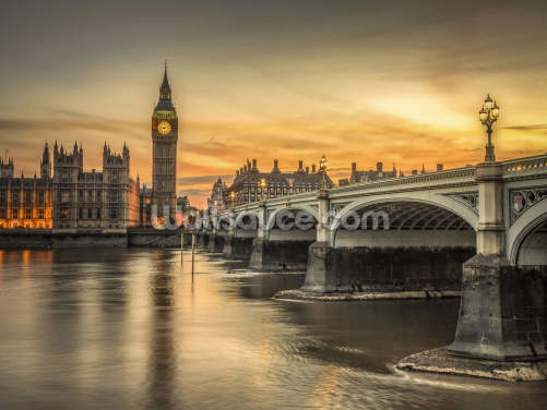 Westminster Bridge and Big Ben Sunset Wallpaper Wall Murals