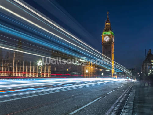 Westminster Abby and Big Ben with Strip Lights Wallpaper Wall Murals