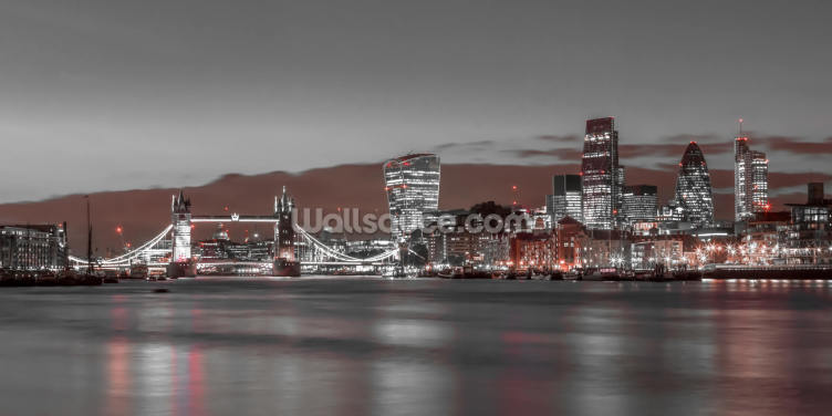 London Skyline Red Colour Splash Wallpaper Wall Murals