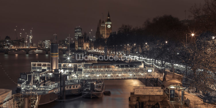 Evening view of London City at Night Wallpaper Wall Murals
