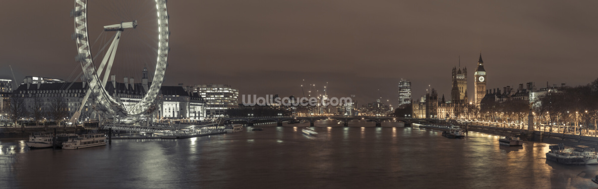 London Cityscape with Millennium Wheel Wallpaper Wall Murals