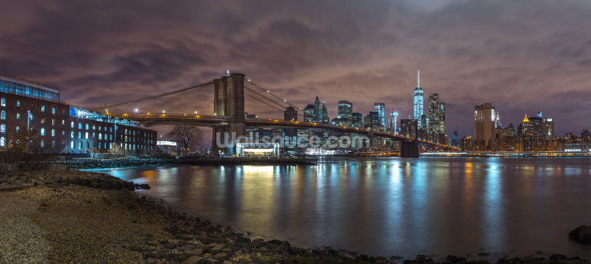 Brooklyn Bridge and Manhattan Skyline With Reflections Wallpaper Wall Murals