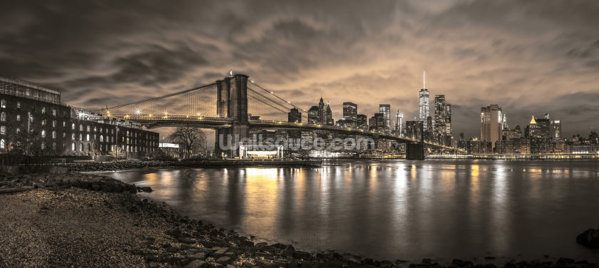 Brooklyn Bridge and Manhattan Dramatic Skyline Wallpaper Wall Murals
