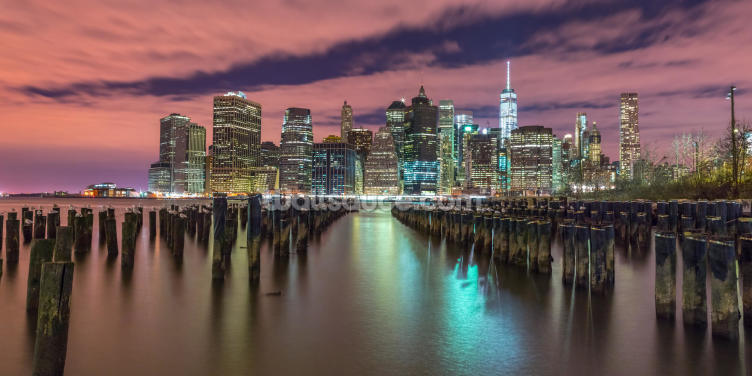 Illuminated Manhattan Skyline Wallpaper Wall Murals