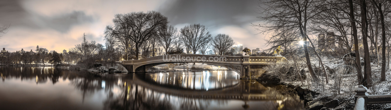 Bow Bridge over Turtle Pond Wallpaper Wall Murals