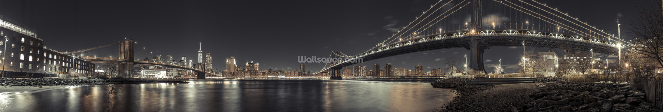 Panoramic New York Nights Wallpaper Wall Murals