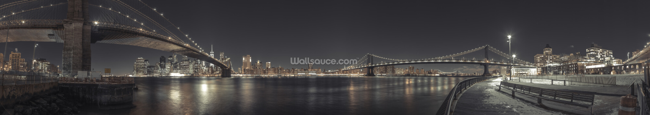 Panoramic New York Wide Angle Night Wallpaper Wall Murals