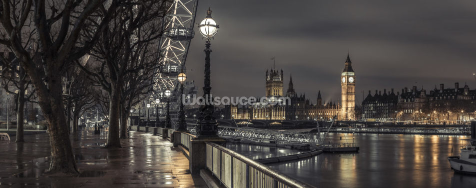 Westminster across the Thames River Wallpaper Wall Murals