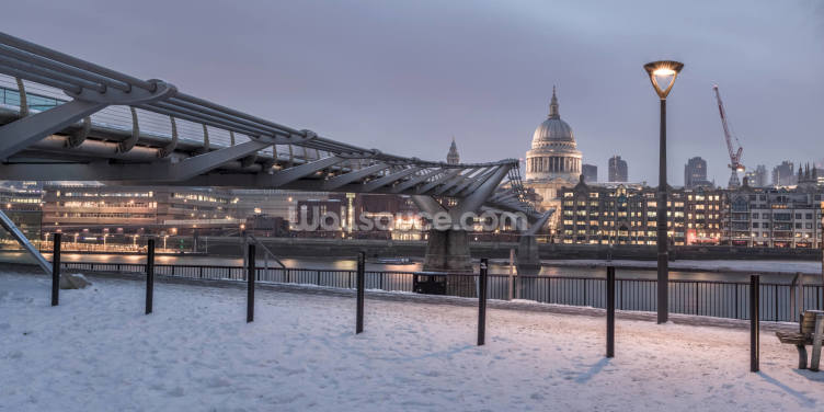 Millennium Bridge in Snow Wallpaper Wall Murals