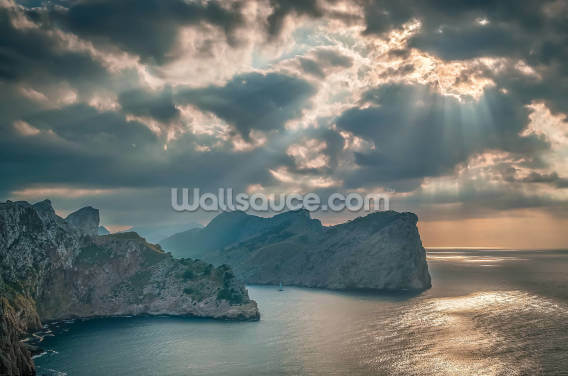 A Boat Sails Round the Majorca Coastline Wallpaper Wall Murals