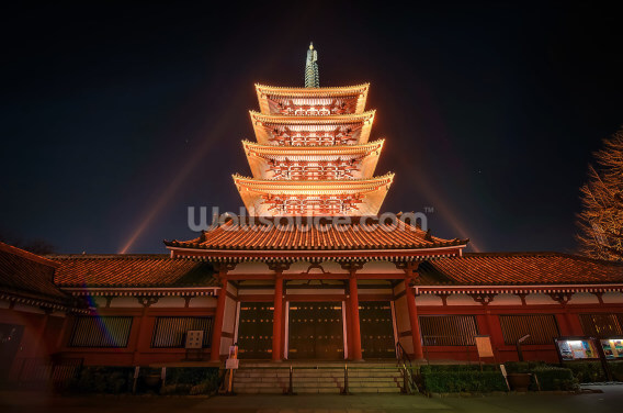 Asakusa Temple at Night, Tokyo Wallpaper Wall Murals