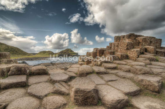 Cloudy Day on Giant's Causeway Wallpaper Wall Murals