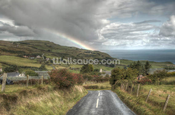 Coastal Causeway Rainbow, Northern Ireland Wallpaper Wall Murals