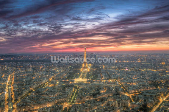 Purple Skies Over the Eiffel Tower Wallpaper Wall Murals