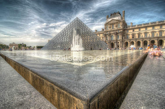 Sunbathing in the Louvre Water Pools Wallpaper Wall Murals