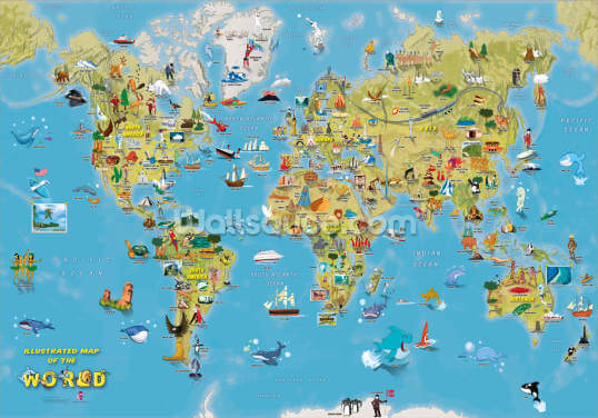 Cartoon World Map with Animals Wallpaper Wall Murals
