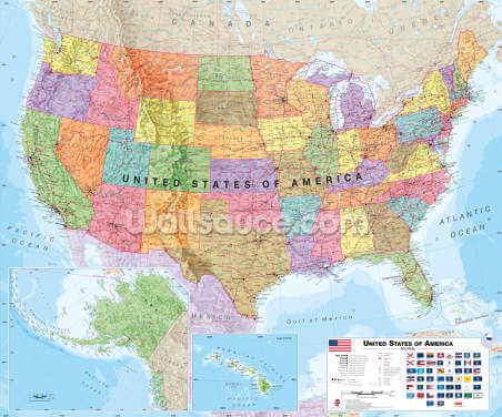 USA Political Map Wallpaper Wall Murals