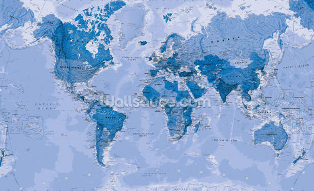 World Map Blue Wallpaper Wall Murals