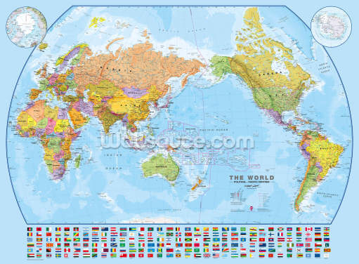 World Map and Flags Wallpaper Wall Murals