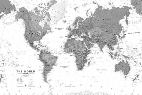 World Map Monochrome Wallpaper Wall Murals