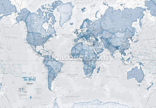 World Political Blue Wallpaper Wall Murals