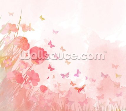 Pink Watercolor Butterflies Wallpaper Wall Murals