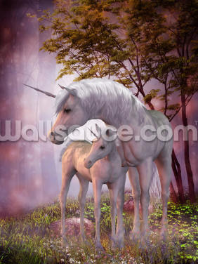 Unicorn Foal and Mare Wallpaper Wall Murals
