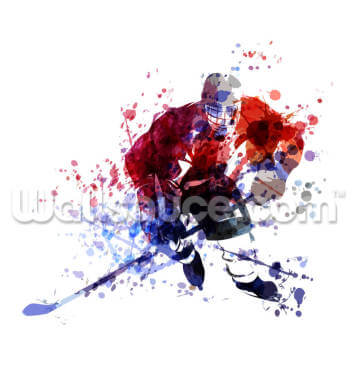 Colourful Illustration of Hockey Wallpaper Wall Murals