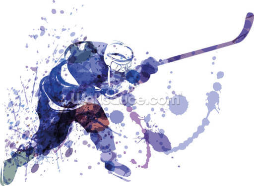 Watercolour Illustration of Hockey Player Wallpaper Wall Murals
