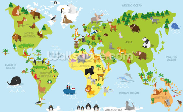 Illustrated Childrens World Map Wallpaper Wall Murals