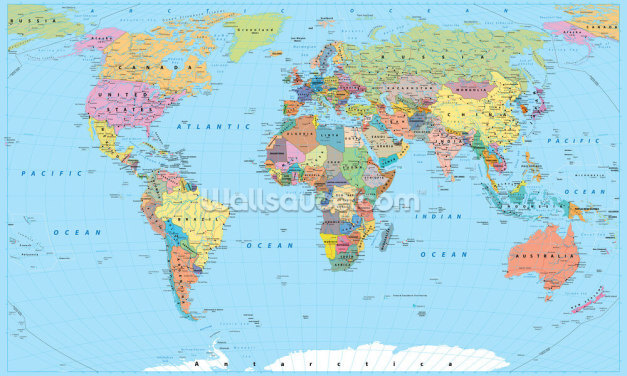 Coloured Map of the World Wallpaper Wall Murals