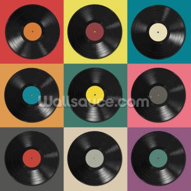 Colourful Vinyl Records Wallpaper Wall Murals