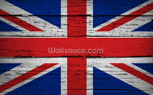 Union Jack UK Flag Wood Background Wallpaper Wall Murals