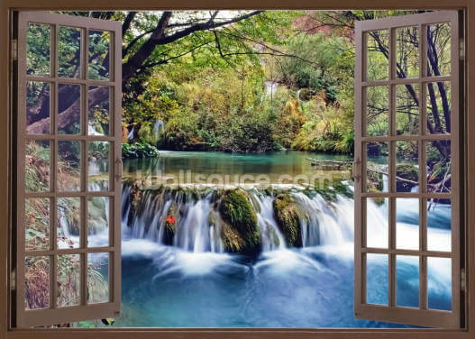 Open Window Water Stream Wallpaper Wall Murals
