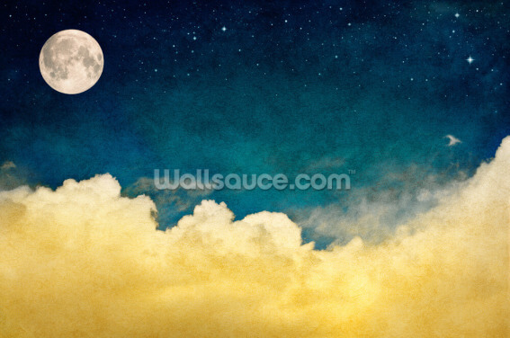 Full Moon and Cloudscape Wallpaper Wall Murals