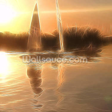 Light Float Boats Wallpaper Wall Murals