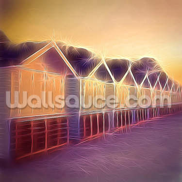 Light Pastel Huts Wallpaper Wall Murals