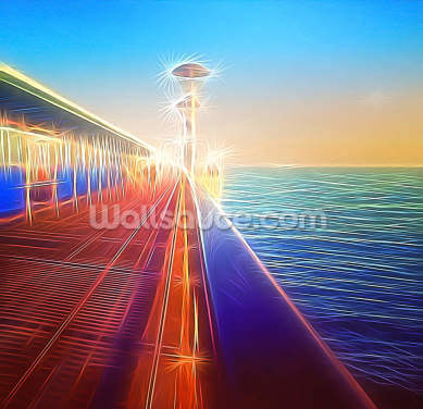 Light Pier Horizon Wallpaper Wall Murals