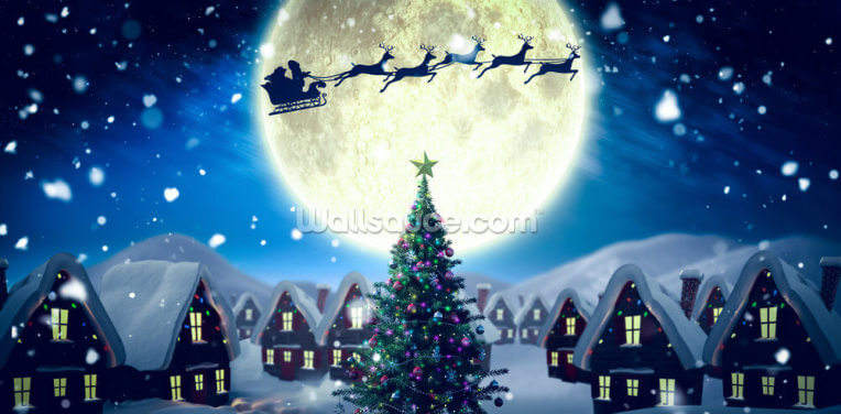 Santa Delivering Presents Wallpaper Wall Murals