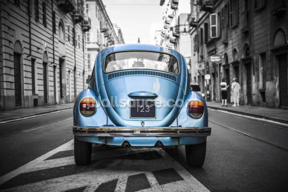 Old Blue VW Beetle Wallpaper Wall Murals