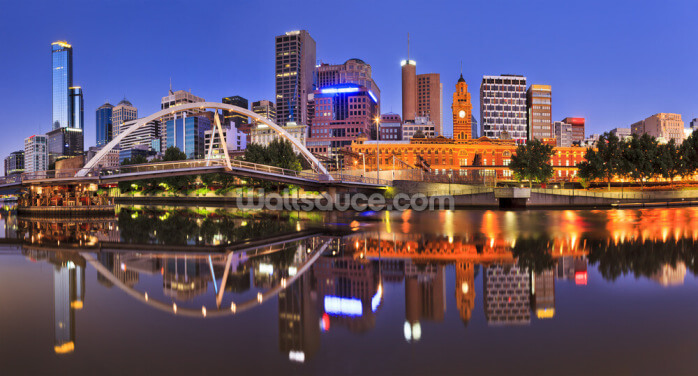 Melbourne CBD River Rise at Night Wallpaper Wall Murals