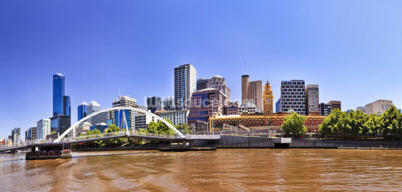 Melbourne River Bank and Foot Bridge Wallpaper Wall Murals
