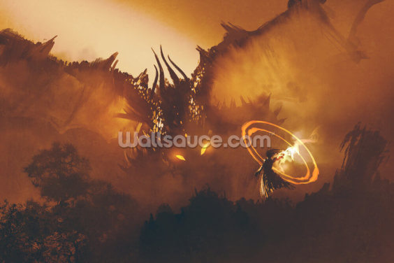Dragon Wizard Wallpaper Wall Murals