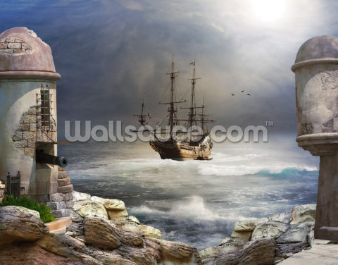 Pirate Ship at Sea Wallpaper Wall Murals