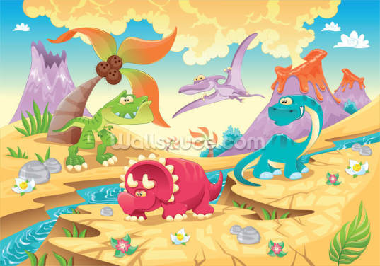 Dinosaurs Cartoon Wallpaper Wall Murals